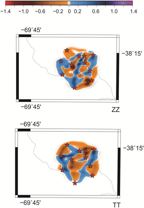 Tomografía de correlación de ruido ambiental de la componente vertical y de la componente transversal.